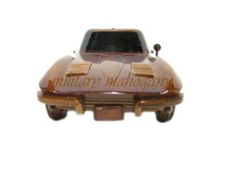 CORVETTE STINGRAY WOOD WOODEN HAND CARVED MADE MAHOGANY CAR MODEL NEW