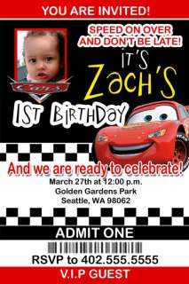 Custom Disney Cars Movie Birthday Invitations cards