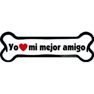 Bone Car Magnet, Yo Amo Mi Mejor Amigo, 2 Inch by 7 Inch