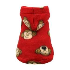 Hip Doggie Red Monkey Polar Fleece Hoodie, Large Pet