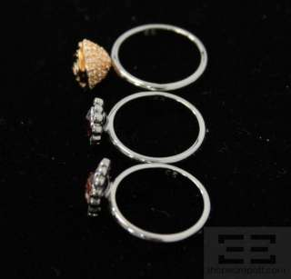 Swarovski 3 piece Rose, Siam Crystal, & Gold Rose Mimosa Ring Set NEW