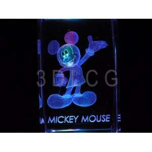 Disney Mickey Mouse 3D Laser Etched Crystal ST Everything