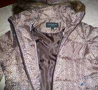 Centigrade Quilted Zip Front Jacket with Faux Fur Trim, Leopard Print