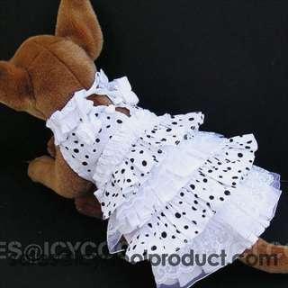 WHITE PRINCESS DOT VICTORIAN DRESS dog clothes APPAREL