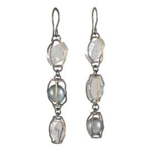 MELISSA JOY MANNING  Three Drop Herkimer Diamond and Pearl