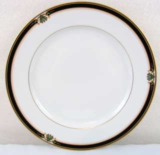 Gorham Strasbourg China Dinner Plate white with black and gold trim (J