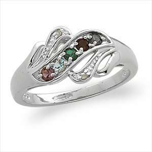 Silver Mothers Birthstone Solitaire Ring with Diamond Accent Jewelry