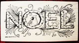 Northwoods Rubber Stamp Christmas Cardinal Noel Pretty