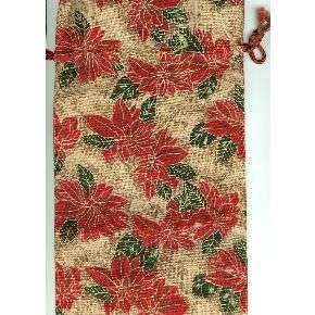 Christmas Holiday Poinsettia Cloth Wine Bottle Gift Bag