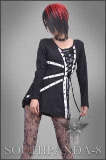 SC085 Black Punk Rock T shirt Top Fashion Graffiti