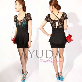 Short Sleeve Black Lace Dress Clubbing Party Brithday