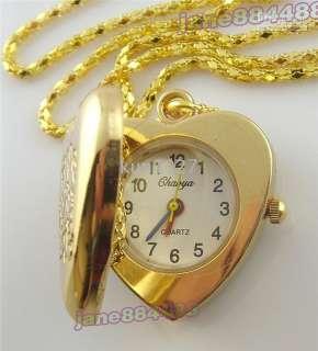 Lovely Hellokitty heart shape boys girls necklace pocket watch L2