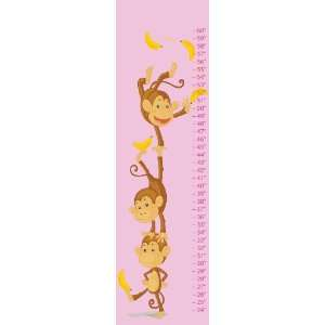 Monkey Baby Pink Canvas Growth Chart Baby