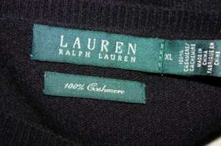 Ralph Lauren LRL XL Black 100% Cashmere Goldtone Logo Button Cardigan