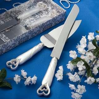 Double Linked Heart Wedding Cake Knife Server Set