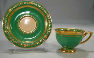 Demitasse Cup and Saucer Green Gold Petal Cut out Inside Cup