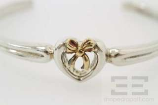 Tiffany & Co. Sterling Silver & 18k Yellow Gold Heart Bow Cuff