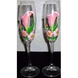 Floral Gorham Handpainted Crystal Champagne Flutes Glasses