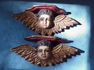 Pair Antique CHERUB ANGEL CRECHE Carved Sconces