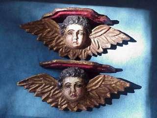 Pair Antique CHERUB ANGEL CRECHE Carved Sconces