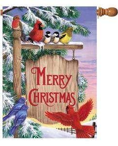 CHRISTMAS SIGN POST WINTER BIRDS SNOW SCENE Lg FLAG