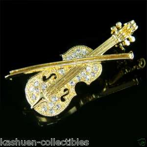 Crystal musical instrument VIOLIN gold tone BROOCH XMAS