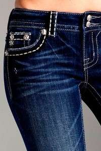 Miss Me by Mek PLUS SIZE Crystal Studded Angel Wing Pocket Bootcut