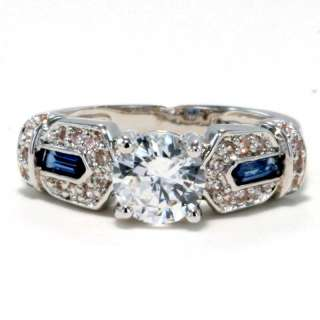 Zirconia Simulated Sapphire Estate Style Bridal Wedding Ring