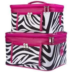 Toiletry 2 Piece Luggage Set Hot Pink Trim Black & White Zebra Print