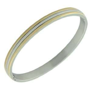 Stainless Steel Silver Gold Two Tone Womens Bangle Bracelet Jewelry