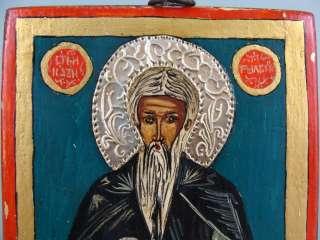 ANTIQUE ORTHODOX CHRISTIAN SAINT JOHN IVAN RILSKY ALPHABET WOOD SILVER