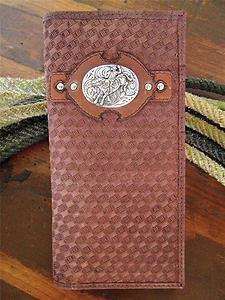 WESTERN RODEO BULL RIDER COWBOY BROWN LEATHER MENS WALLET
