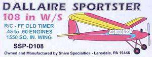 SSP D 108 RC DALLAIRE SPORTSTER 108 LASER CUT Parts Model Airplane Kit