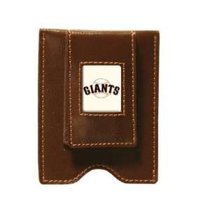 San Francisco Giants Brown Leather Money Clip & Card Case