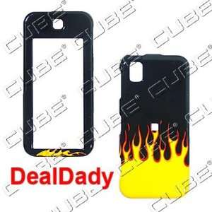 Samsung Delve R800   Yellow & Red Fire/Flames on Black Hard Case/Cover