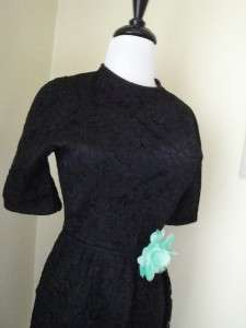 Vintage 50s Black Lace Wiggle Dress Cocktail Party Prom Dress Jeanne D