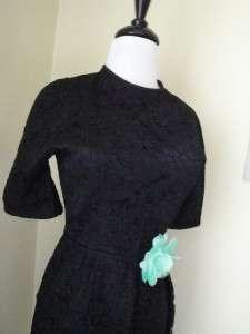 Vintage 50s Black Lace Wiggle Dress Cocktail Party Prom Dress Jeanne D