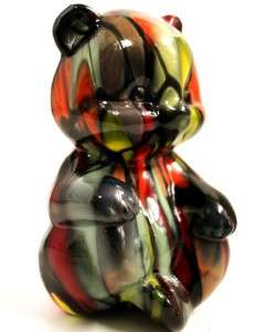 ART GLASS MOSAIC BEAR FIGURINE SIGNED DAVID L. FETTY VIP 2006