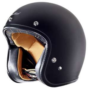 Rockhard Vintage Harley Open Face Matte Black Motorcycle Helmet