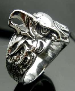 Eagle Head Pewter Ring Size 10 Punk Biker Hard Rock Heavy Metal