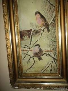 ANTIQUE Victorian Robin BIRDS & Icicles Original Oil FRAMED Sunday ART