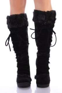 Black Furry Wedge Lace Up Knee Boots Women Vegan Friendly picture