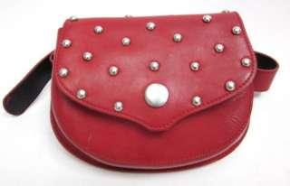 DESIGNER Red Leather Studded Waist Belt Bag