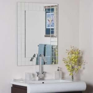 Geometric Rectangular Square Beveled Frameless Wall Mirror