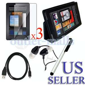 Leather Case+Screen Protector+Stylus+Date Cable+Earhone w/Mic for
