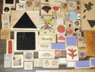 HUGE LOT *** 100+ ASSORTED WOOD MOUNTED RUBBER STAMPS (LOT F)