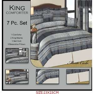 Pieces Blue White Grey Stripes Jacquard King Size Comforter Set Bed