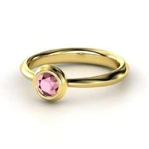 Bezel Ring, Round Rhodolite Garnet 14K Yellow Gold Ring Jewelry