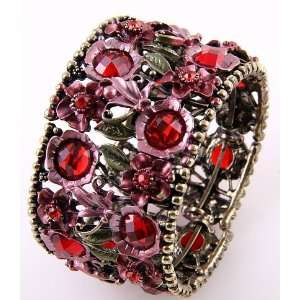 Fashion Jewelry Antique Metal Red Rhinestone Acrylic Jewelry Flower