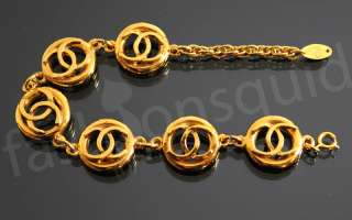 Authentic Chanel Vintage Gold Logo Bracelet Chain 1980s Express